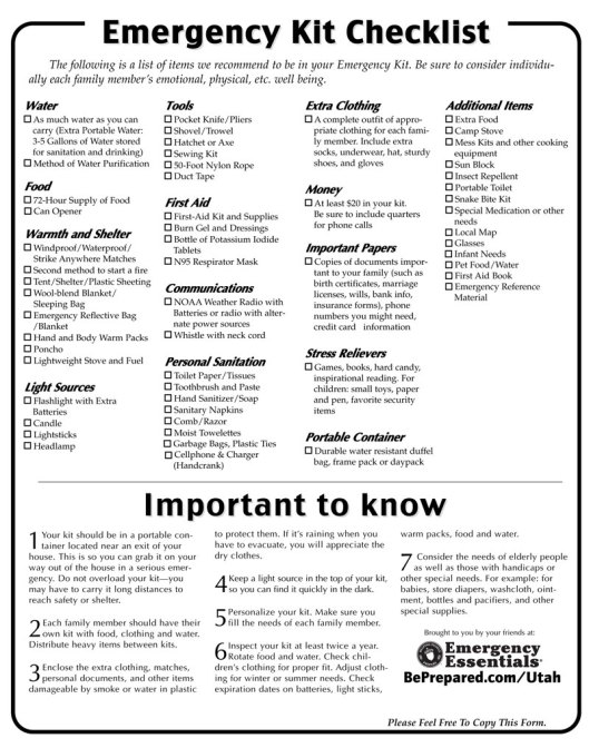 Survival kit checklist canada 411